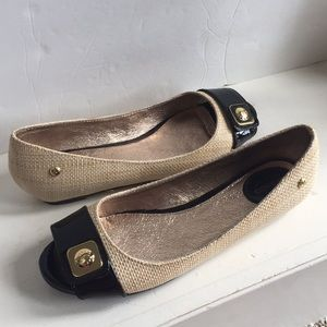 Sebago grass woven patent Peep toe flats Sz 9